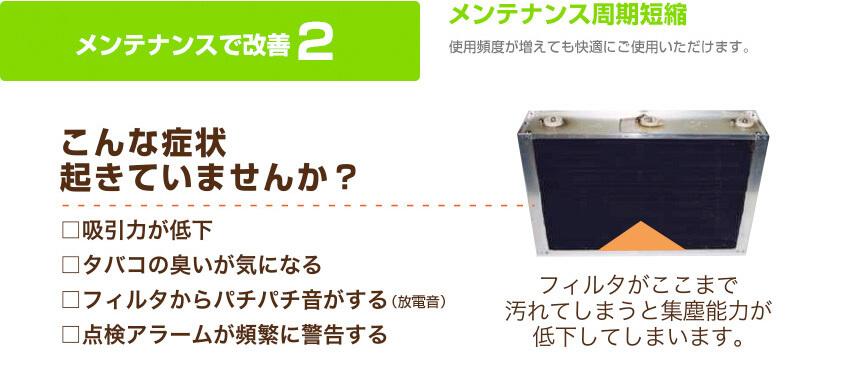 メンテナンスで改善2:「メンテナンス周期短縮」使用頻度が増えても快適にご使用頂けます。フィルターが汚れてしますと集塵能力が低下してしまします。(フィルタ画像)