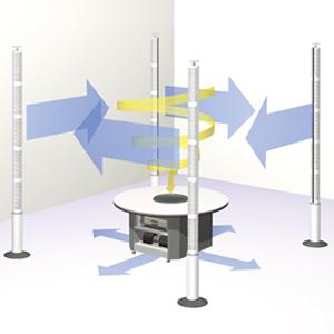 人工竜巻でタバコの煙をテーブルの中央に吸引します。 技術情報 人工竜巻形成技術